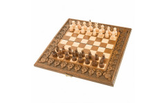 Шахматы + нарды резные с гранатами 40 Haleyan