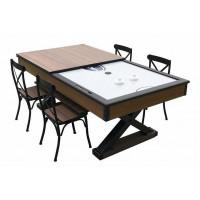 Комплект 2 в 1 «Superior» — аэрохоккей обеденный 7 ф + 4 стула (221 x 120 x 82 см, мореный дуб, столешница, аксессуары)